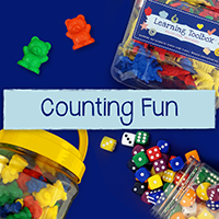 Counting Fun dice, counting tokens bear and dinosaur