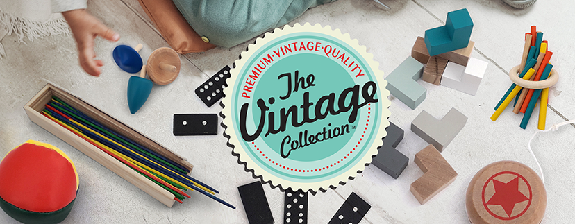 Vintage Collection Logo with products behind